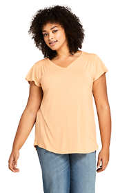 Women's Plus Size V-neck Smocked Shoulder Flutter Sleeve Top