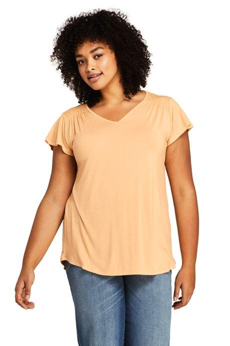 Women's Plus Size V-neck Smocked Shoulder Flutter Sleeve Top