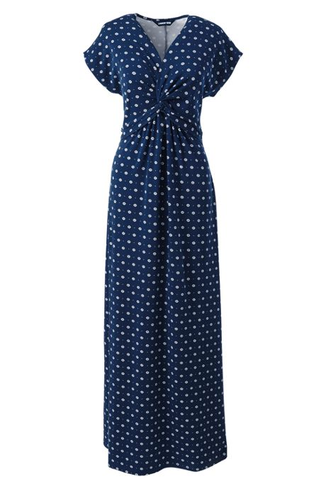 Women's Petite Knot Front Cap Sleeve Maxi Dress