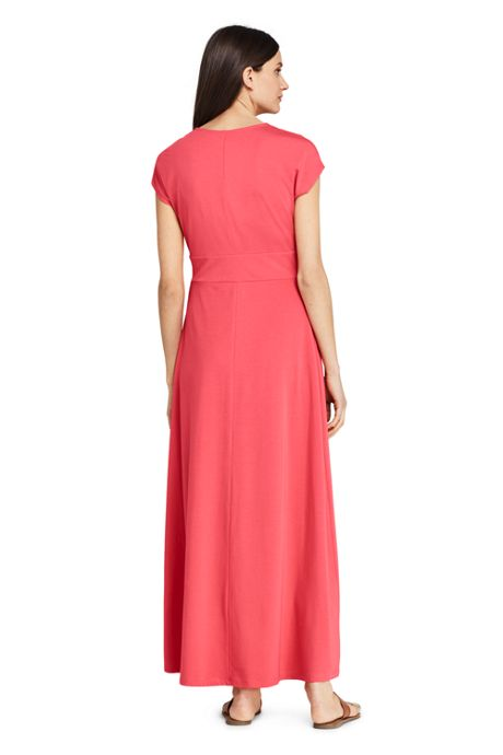 Women's Petite Cap Sleeve Knit Knot Front Maxi Dress