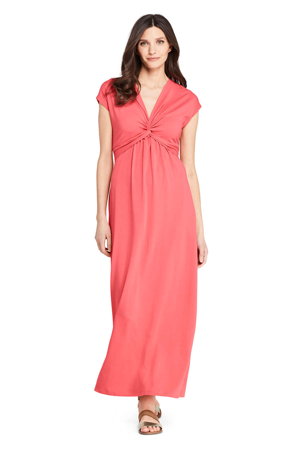 d201d5ff0 Women's Cap Sleeve Knit Knot Front Maxi Dress from Lands' End