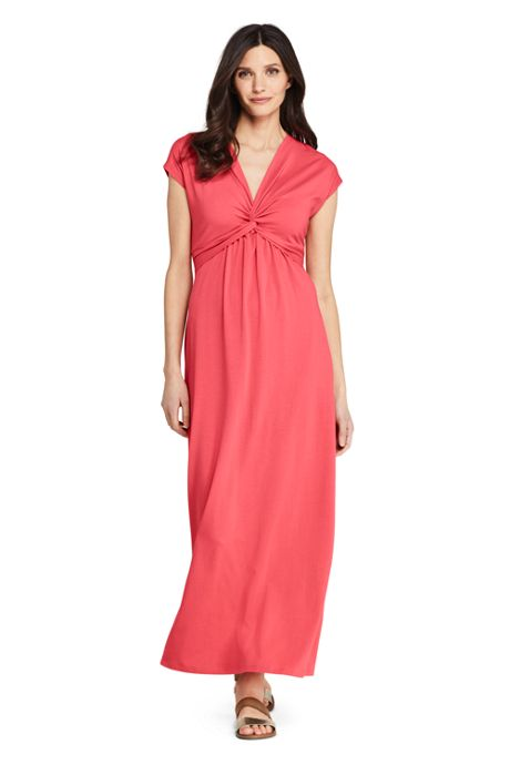Women's Cap Sleeve Knit Knot Front Maxi Dress