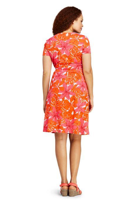 Women's Plus Size Short Sleeve Knit Print Faux Wrap Dress