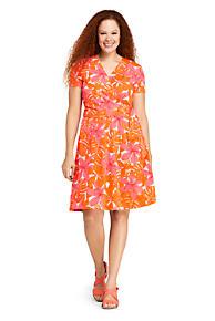 36bb15a757f Women s Plus Size Short Sleeve Knit Print Faux Wrap Dress