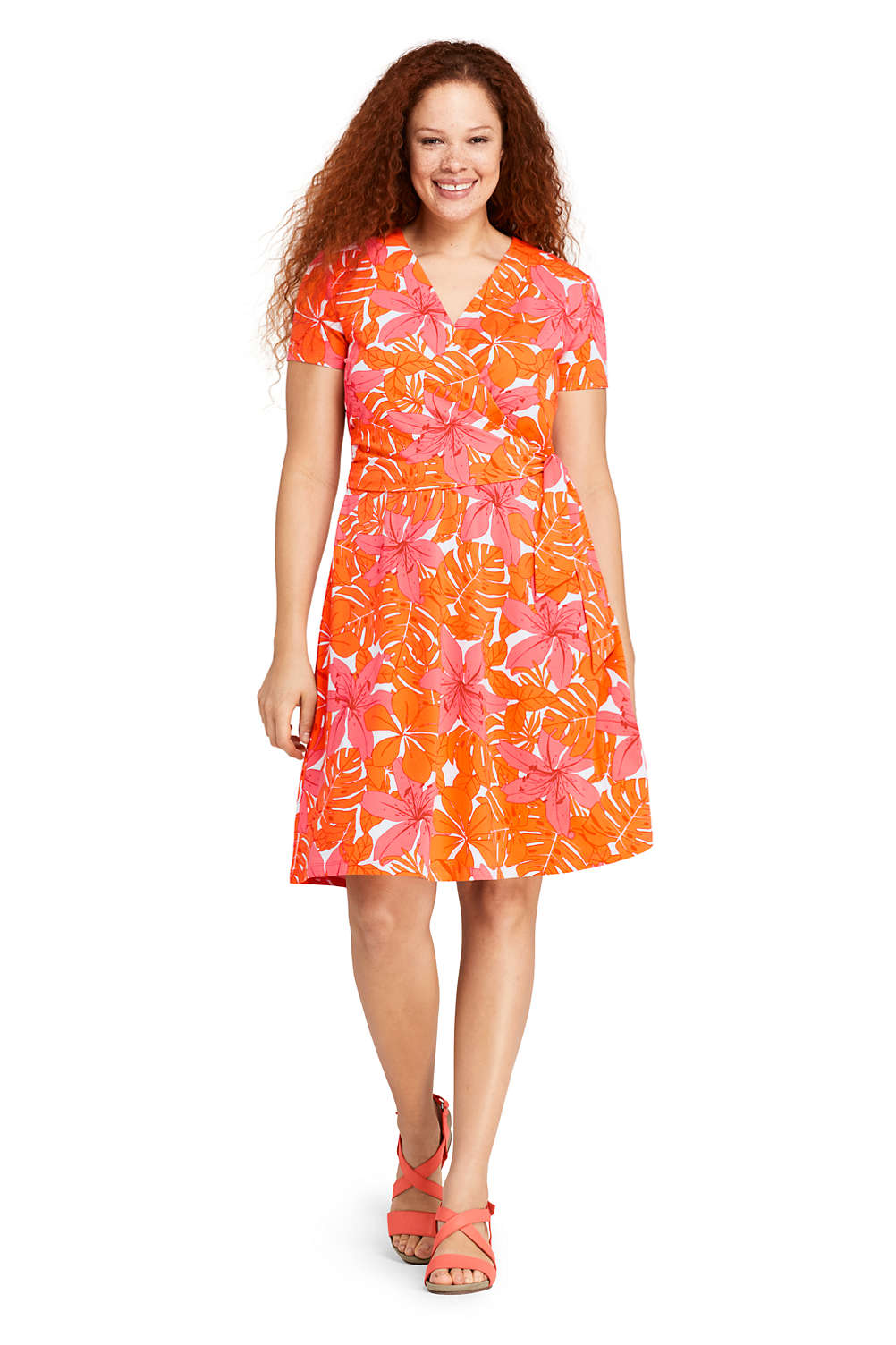 Women\'s Plus Size Short Sleeve Knit Print Faux Wrap Dress from Lands ...