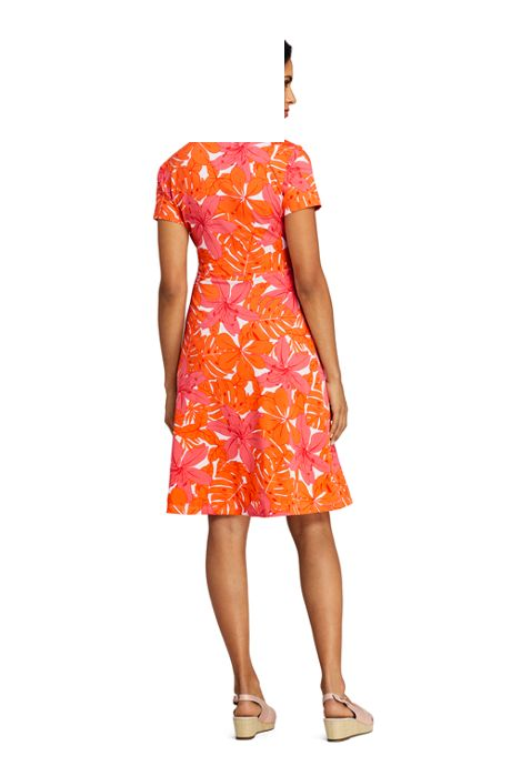 Women's Petite Short Sleeve Knit Print Faux Wrap Dress