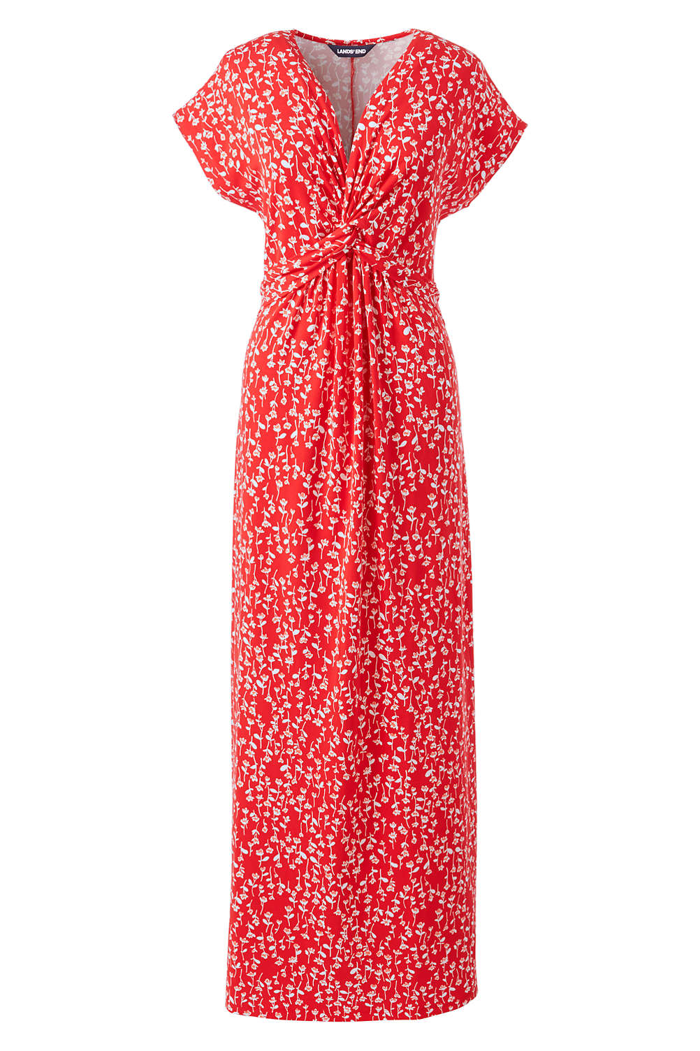 4cacd1eca Women's Plus Size Cap Sleeve Knot Front Maxi Dress from Lands' End