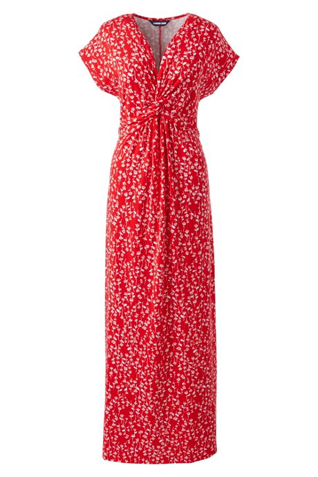 Women's Plus Size Cap Sleeve Knot Front Maxi Dress