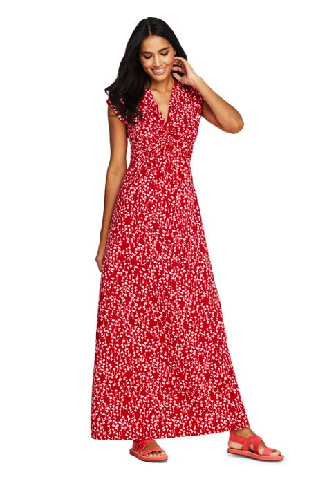 Women S Cap Sleeve Knot Front Maxi Dress Maxi Dresses Dresses