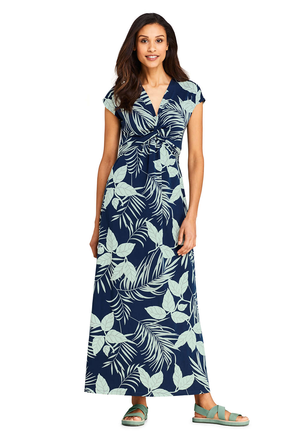 49fb7a5ec Women's Knot Front Cap Sleeve Maxi Dress from Lands' End