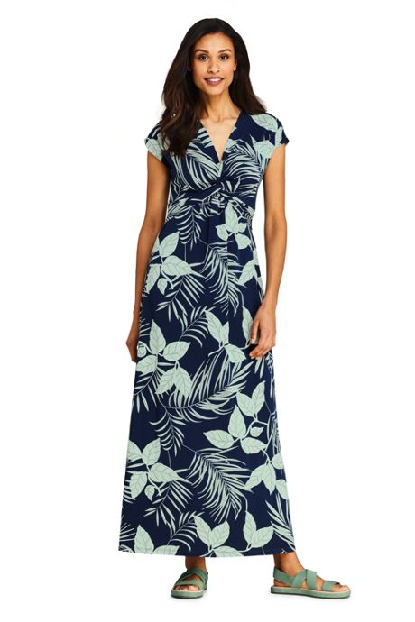 Women's Knot Front Cap Sleeve Maxi Dress