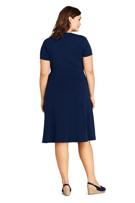 Women's Plus Size Short Sleeve Knit Faux Wrap Dress