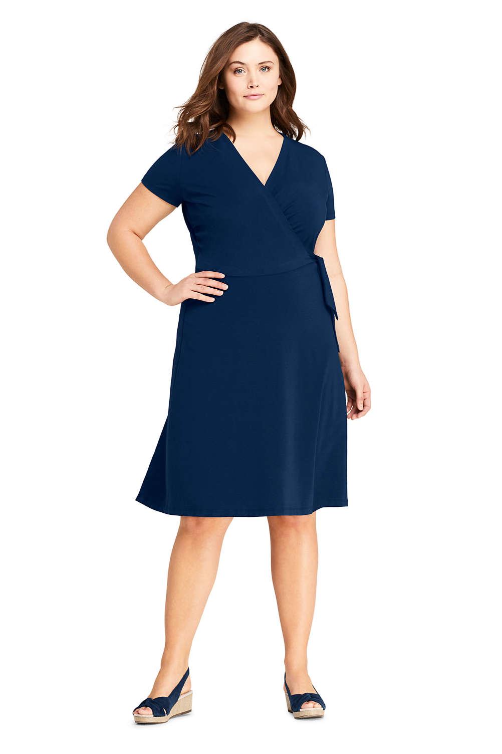 Women\'s Plus Size Short Sleeve Knit Faux Wrap Dress from Lands\' End