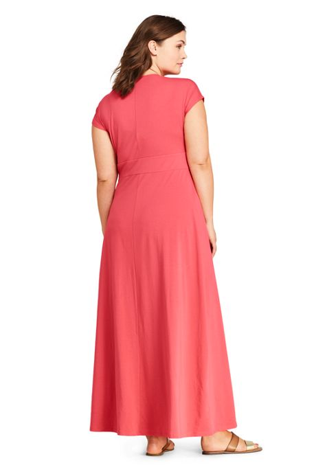 Women's Plus Size Cap Sleeve Knit Knot Front Maxi Dress