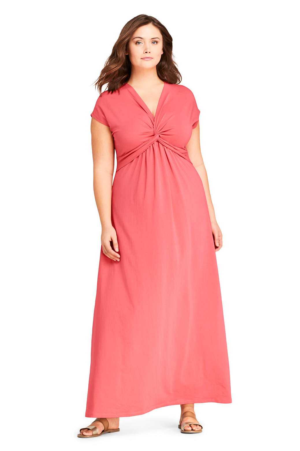 Women\'s Plus Size Cap Sleeve Knit Knot Front Maxi Dress from Lands\' End