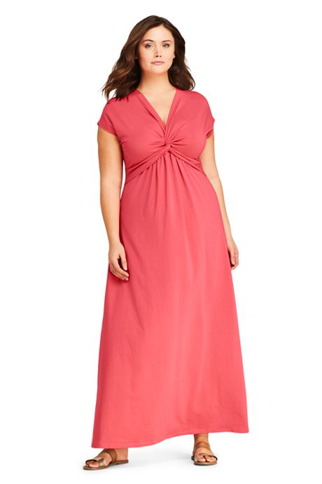 Women\'s Plus Size Knit Surplice Sleeveless Maxi Dress, Maxi Dresses ...