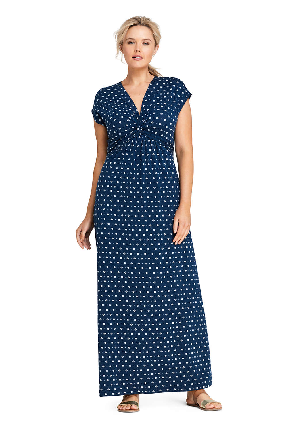 Women S Plus Size Cap Sleeve Knot Front Maxi Dress From Lands End
