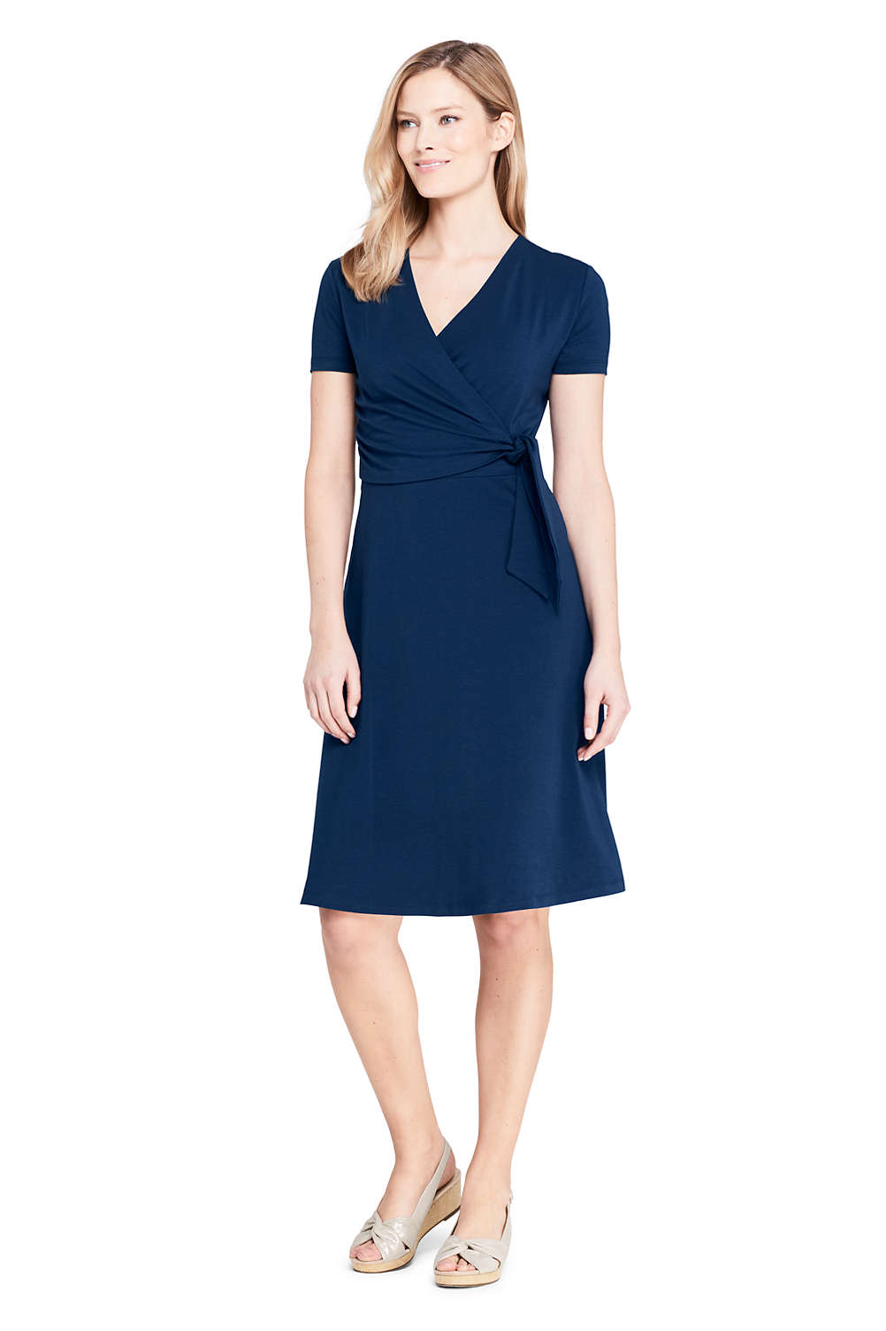 Women s Short Sleeve Knit Faux Wrap Dress from Lands  End f1c592351