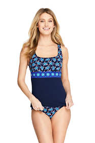 Women's Chlorine Resistant Square Neck Underwire Tankini Top Swimsuit Print