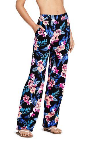 Pantalon de Plage Ample à Motifs, Femme Stature Standard