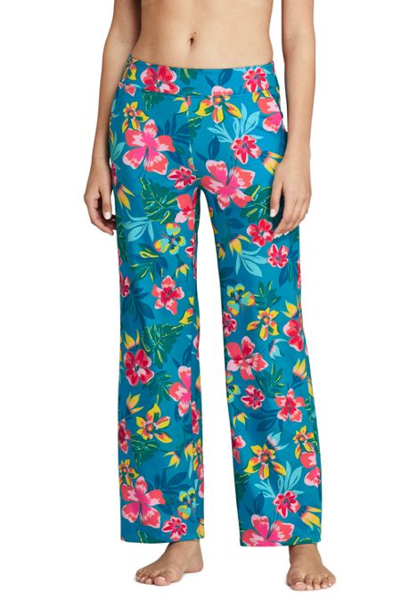 Women's Petite UPF 50 Sun Protection Swim Cover-up Beach Pants Print