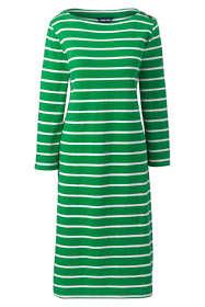 Women's Petite 3/4 Sleeve Stripe Heritage Jersey Shift Dress