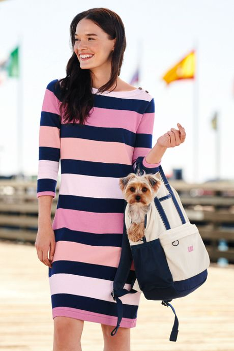 Women's 3/4 Sleeve Stripe Heritage Jersey Shift Dress