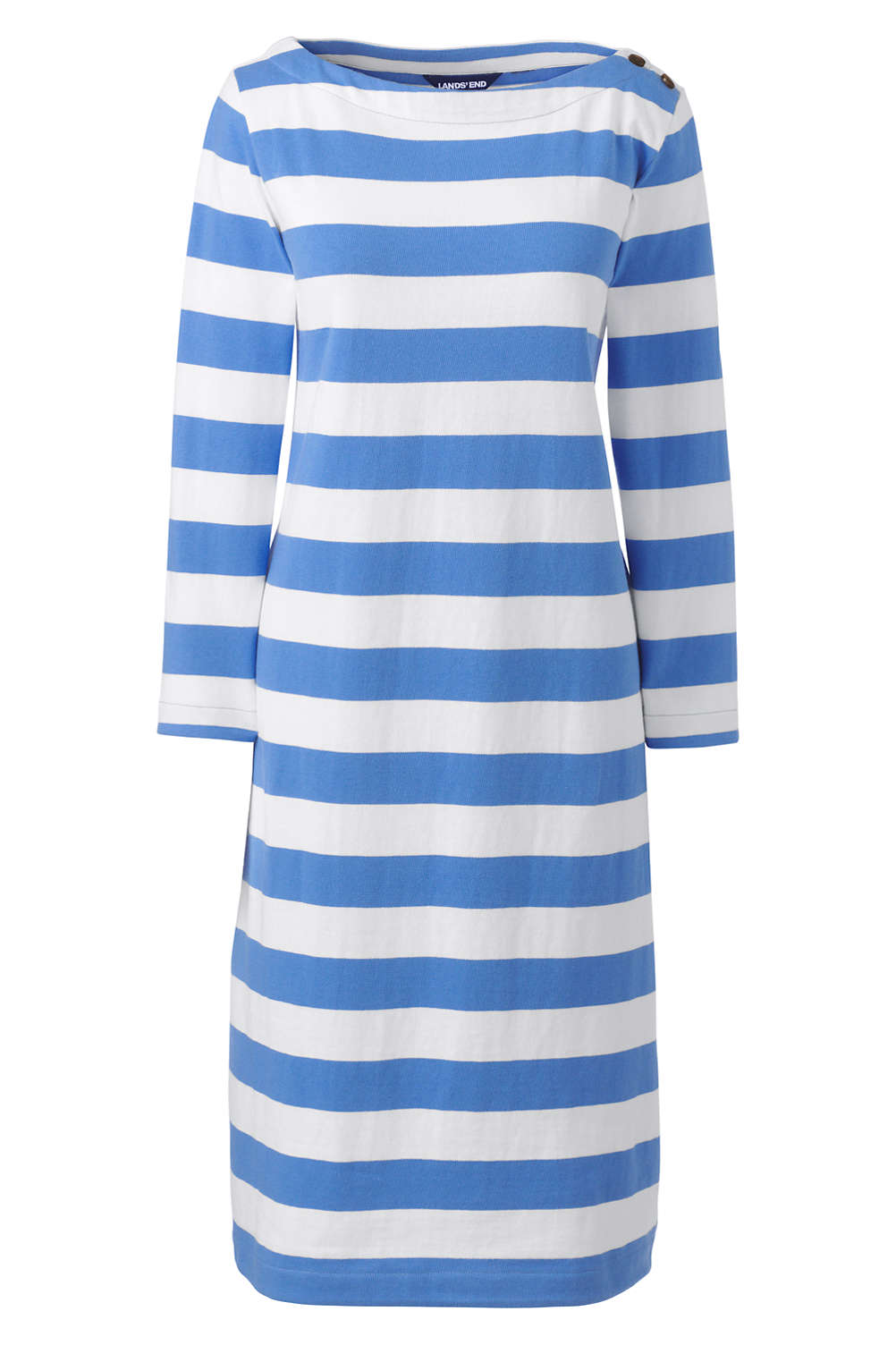 84af53cd4e9 Women s Plus Size 3 4 Sleeve Stripe Heritage Jersey Shift Dress from Lands   End