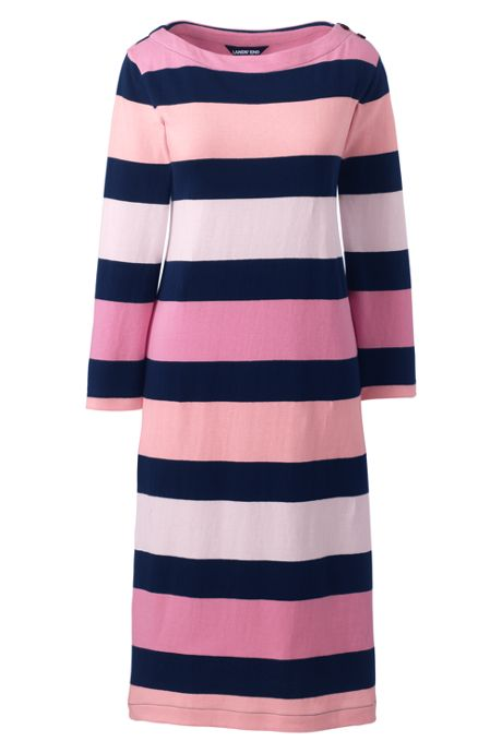 Women's Plus Size 3/4 Sleeve Stripe Heritage Jersey Shift Dress
