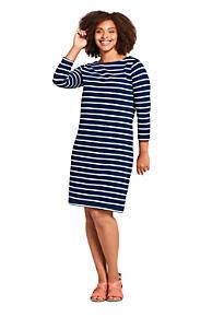436bedb588 Women s Plus Size 3 4 Sleeve Stripe Heritage Jersey Shift Dress