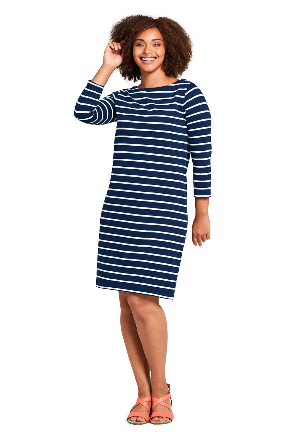 91243ac92ab Women s Plus Size 3 4 Sleeve Stripe Heritage Jersey Shift Dress from Lands   End