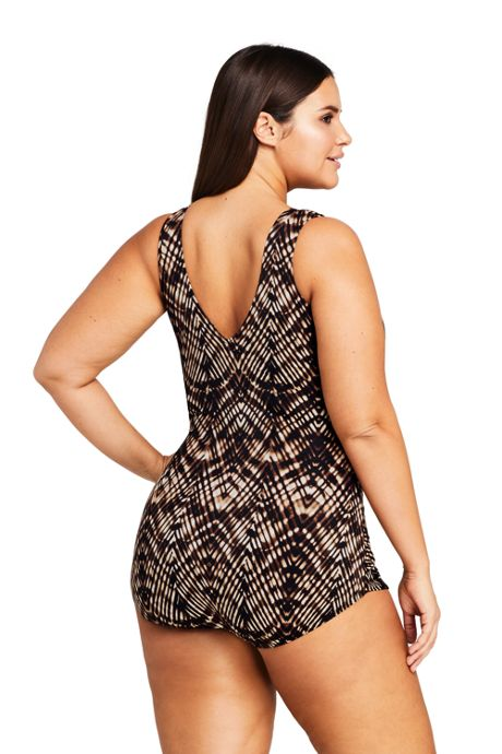Women's Plus Size Slender Surplice Tunic One Piece Swimsuit with Tummy Control Print