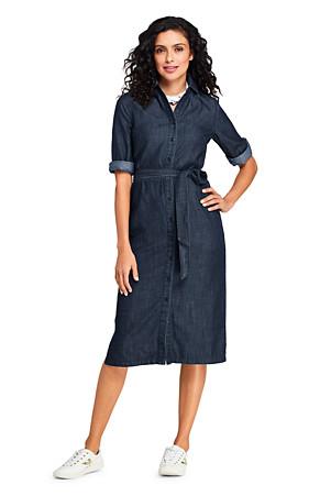 1a068fb08149d Robe Chemise Mi-Longue Aspect Jean, Femme | Lands' End