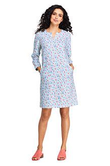 Women's Floral Stretch Linen Mix Tunic Dress