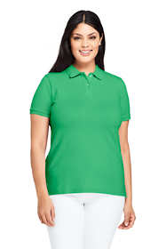 Women's Plus Size Mesh Cotton Polo Shirt Short Sleeve