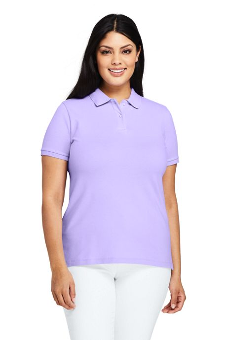 Women's Plus Size Mesh Cotton Polo Shirt Short Sleeve