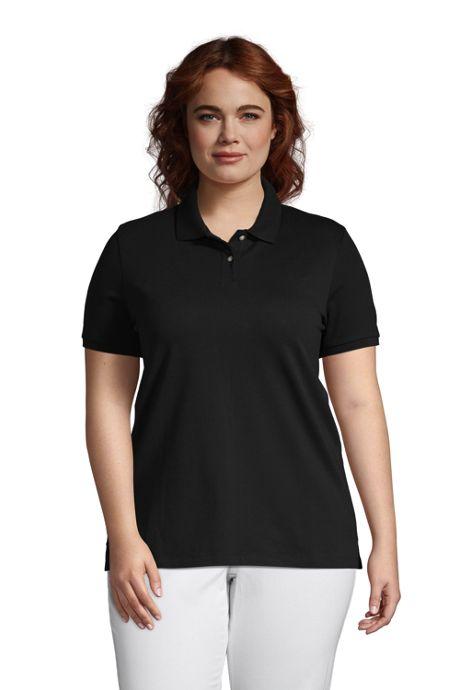 Women's Plus Size Mesh Cotton Short Sleeve Polo Shirt