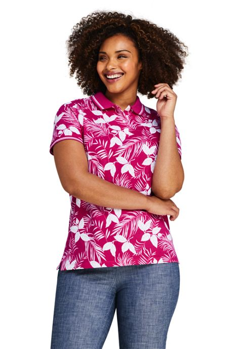 Women's Plus Size Print Mesh Cotton Polo Shirt Short Sleeve