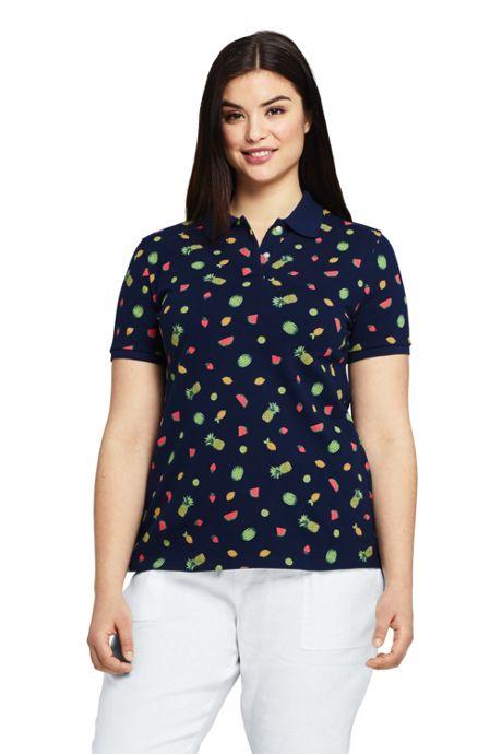 Women's Plus Size Mesh Cotton Short Sleeve Polo Shirt Print