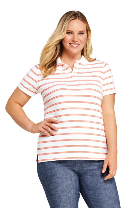 Women's Plus Size Mesh Cotton Short Sleeve Polo Shirt Print