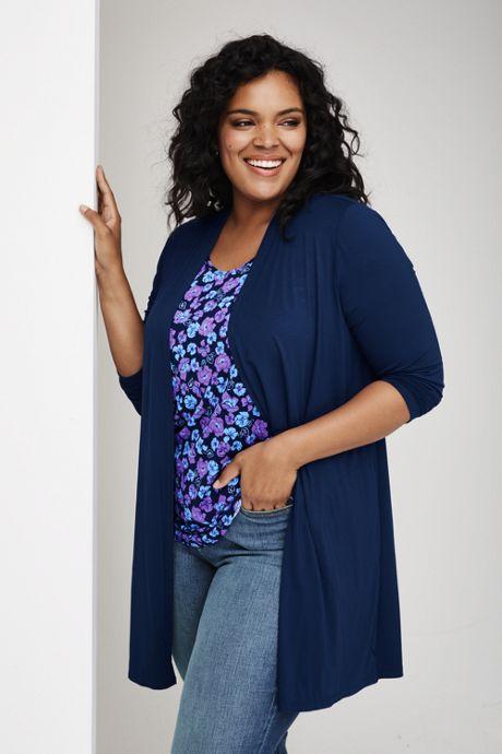 Women's Plus Size Lightweight Jersey Knit Long Cardigan