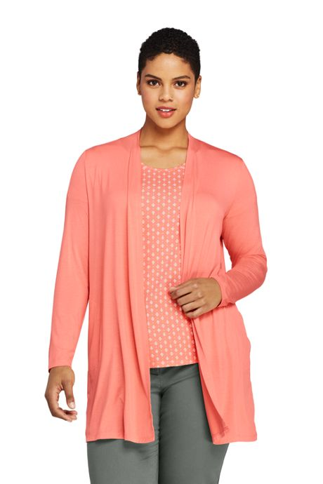 Women's Plus Size Lightweight Jersey Knit Long Cardigan