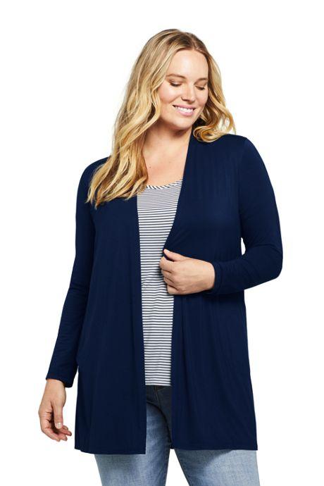 Women's Plus Size Lightweight Knit Long Cardigan