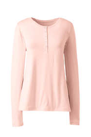 Women's Petite Lightweight Long Sleeve Henley Sleep Top