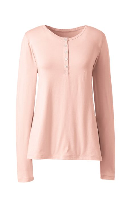 Women's Lightweight Long Sleeve Henley Sleep Top