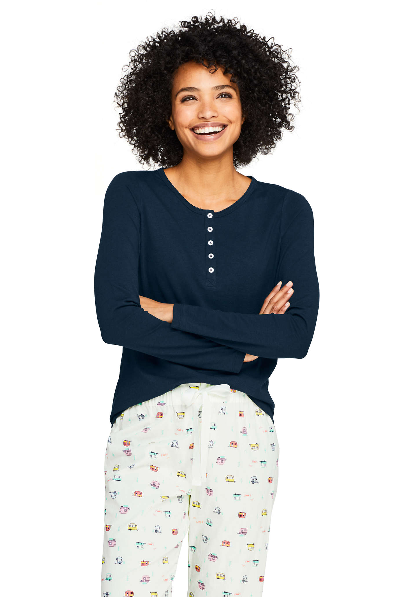 Women's Long Sleeve Print Knit Pajama Set