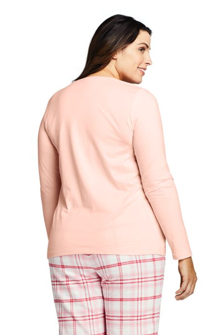 Women's Plus Size Lightweight Long Sleeve Henley Sleep Top