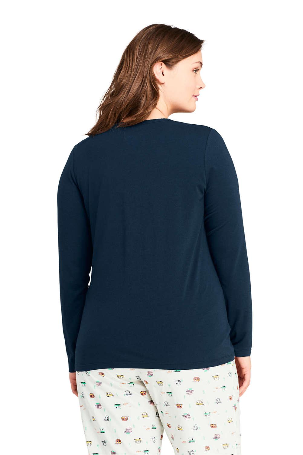 5333bcf2232dc Women s Plus Size Lightweight Long Sleeve Henley Sleep Top from ...