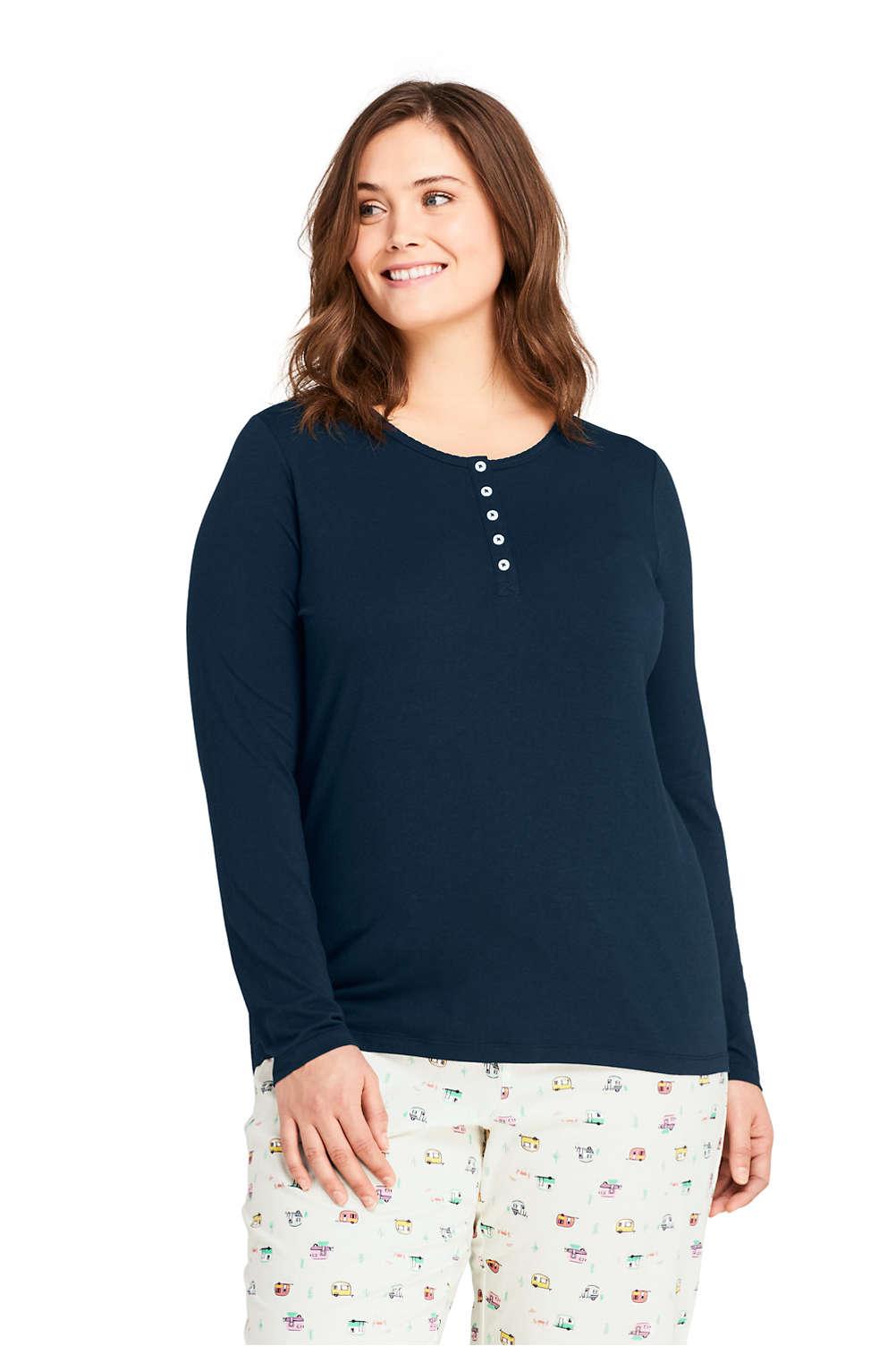 2a44b69659642 Women s Plus Size Lightweight Long Sleeve Henley Sleep Top from Lands  End