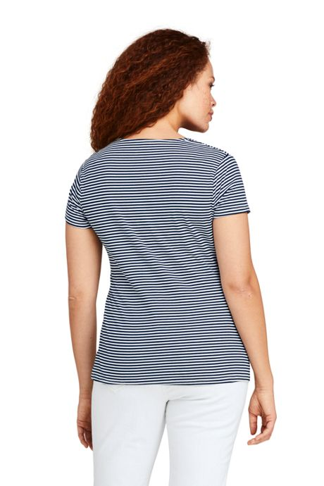 Women's Plus Size Short Sleeve V-Neck Stripe Twist Knot Top